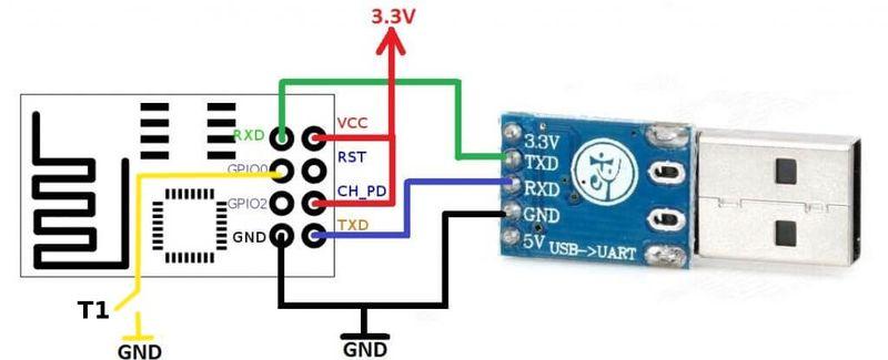 Схема коннектора к ESP-01