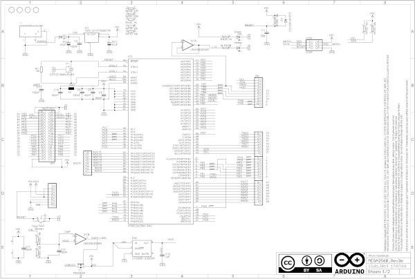 принципиальная схема Arduino Mega2560