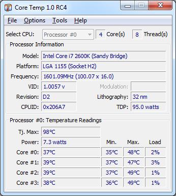 Программа для проверки температуры ноутбука Core Temp