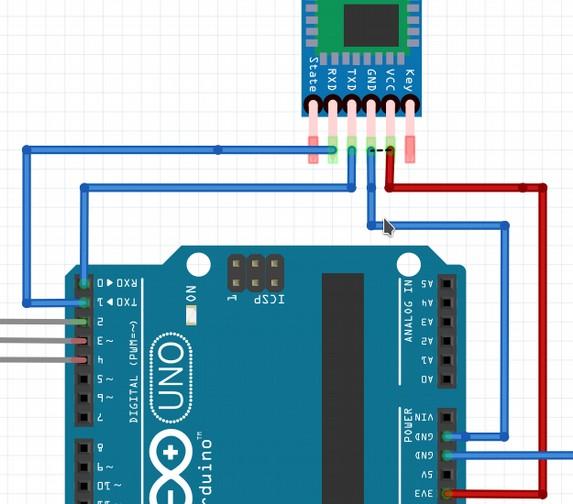 Схема подключения HC-05 к Arduino UNO