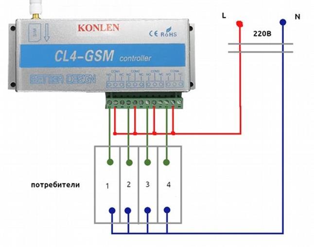 Схема подключения нагрузок к линии через «умное» реле