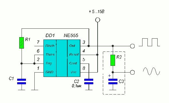 Простой генератор импульсов на основе 555