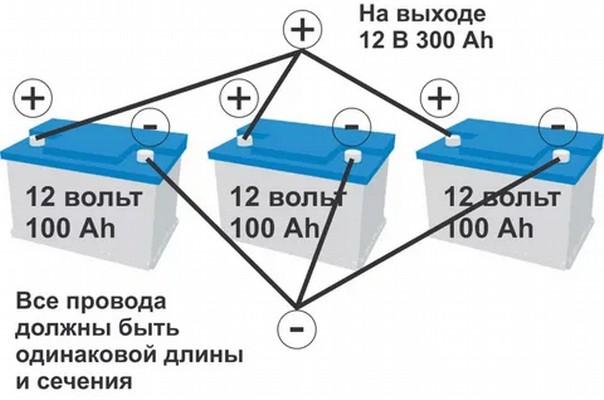 Несколько связанных параллельно автомобильных аккумуляторов