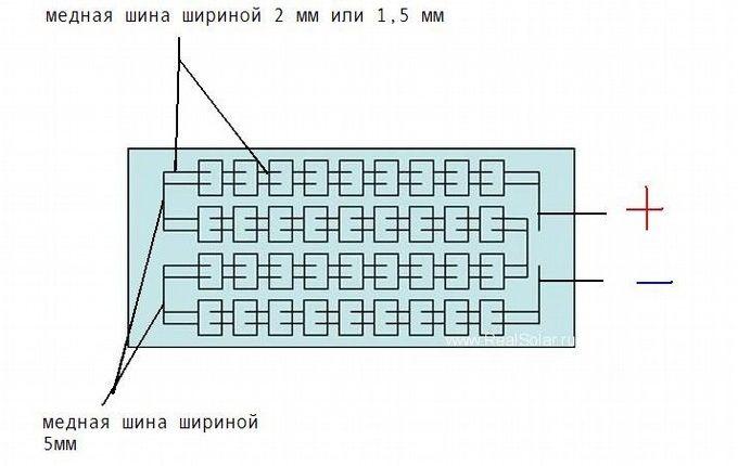 Соединение элементов солнечной батареи