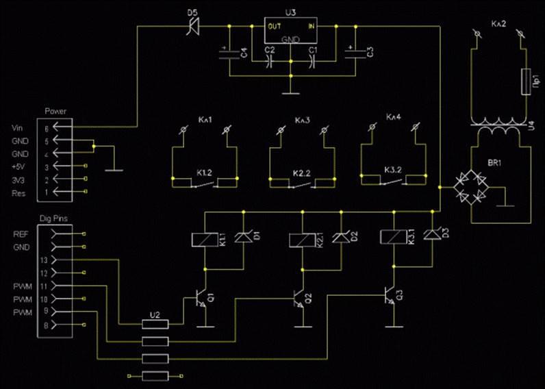 Схема платы расширения Arduino