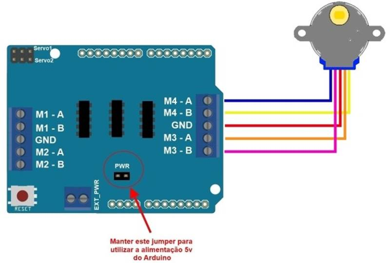 Схема подключения Motor Shield